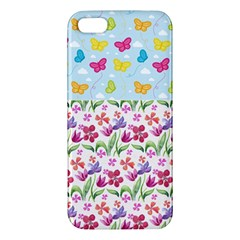 Watercolor flowers and butterflies pattern iPhone 5S/ SE Premium Hardshell Case