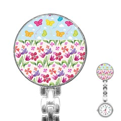 Watercolor flowers and butterflies pattern Stainless Steel Nurses Watch
