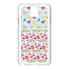 Watercolor flowers and butterflies pattern Samsung Galaxy Note 3 N9005 Case (White)