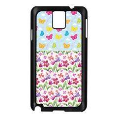 Watercolor flowers and butterflies pattern Samsung Galaxy Note 3 N9005 Case (Black)