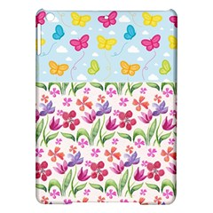 Watercolor flowers and butterflies pattern iPad Air Hardshell Cases
