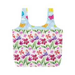 Watercolor flowers and butterflies pattern Full Print Recycle Bags (M)