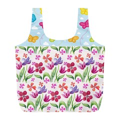 Watercolor flowers and butterflies pattern Full Print Recycle Bags (L)