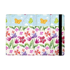 Watercolor flowers and butterflies pattern iPad Mini 2 Flip Cases