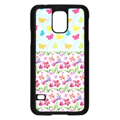 Watercolor Flowers And Butterflies Pattern Samsung Galaxy S5 Case (black)