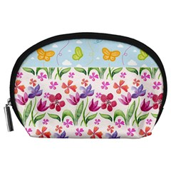 Watercolor flowers and butterflies pattern Accessory Pouches (Large)