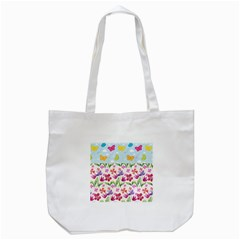 Watercolor flowers and butterflies pattern Tote Bag (White)