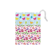 Watercolor flowers and butterflies pattern Drawstring Pouches (Small)
