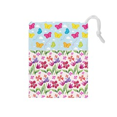 Watercolor flowers and butterflies pattern Drawstring Pouches (Medium)