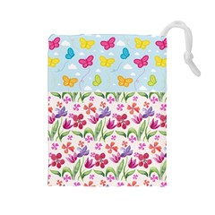 Watercolor Flowers And Butterflies Pattern Drawstring Pouches (large)