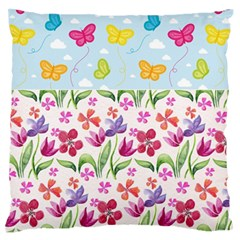Watercolor flowers and butterflies pattern Standard Flano Cushion Case (Two Sides)