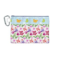 Watercolor flowers and butterflies pattern Canvas Cosmetic Bag (M)