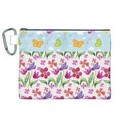 Watercolor flowers and butterflies pattern Canvas Cosmetic Bag (XL)