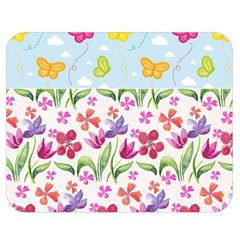 Watercolor flowers and butterflies pattern Double Sided Flano Blanket (Medium)