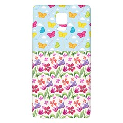 Watercolor flowers and butterflies pattern Galaxy Note 4 Back Case