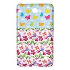 Watercolor flowers and butterflies pattern Samsung Galaxy Tab 4 (8 ) Hardshell Case