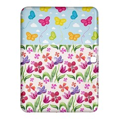 Watercolor flowers and butterflies pattern Samsung Galaxy Tab 4 (10.1 ) Hardshell Case