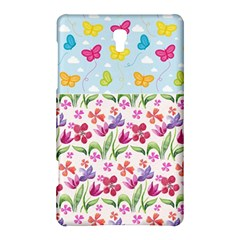 Watercolor Flowers And Butterflies Pattern Samsung Galaxy Tab S (8 4 ) Hardshell Case