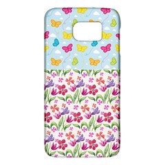 Watercolor flowers and butterflies pattern Galaxy S6