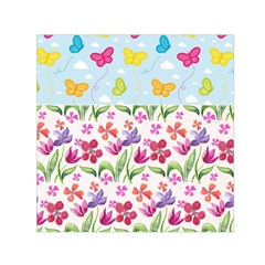 Watercolor flowers and butterflies pattern Small Satin Scarf (Square)