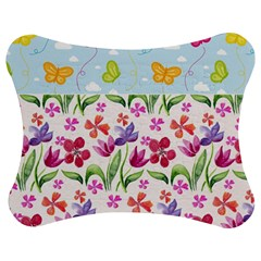 Watercolor flowers and butterflies pattern Jigsaw Puzzle Photo Stand (Bow)