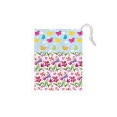 Watercolor flowers and butterflies pattern Drawstring Pouches (XS)