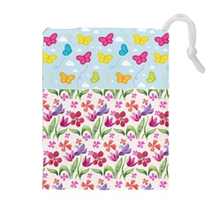Watercolor flowers and butterflies pattern Drawstring Pouches (Extra Large)
