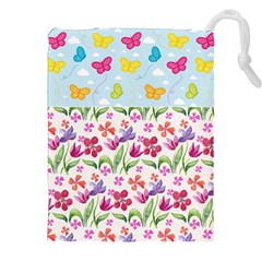 Watercolor flowers and butterflies pattern Drawstring Pouches (XXL)