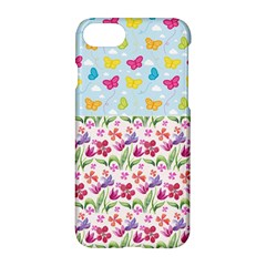 Watercolor flowers and butterflies pattern Apple iPhone 7 Hardshell Case