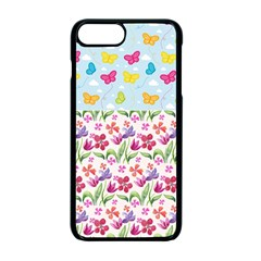 Watercolor Flowers And Butterflies Pattern Apple Iphone 7 Plus Seamless Case (black)