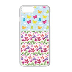 Watercolor Flowers And Butterflies Pattern Apple Iphone 7 Plus White Seamless Case