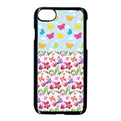 Watercolor flowers and butterflies pattern Apple iPhone 7 Seamless Case (Black)