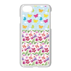 Watercolor flowers and butterflies pattern Apple iPhone 7 Seamless Case (White)