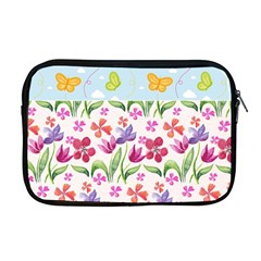 Watercolor Flowers And Butterflies Pattern Apple Macbook Pro 17  Zipper Case