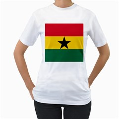 Flag of Ghana Women s T-Shirt (White) (Two Sided)