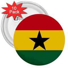 Flag of Ghana 3  Buttons (10 pack)
