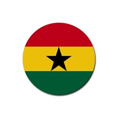 Flag of Ghana Rubber Coaster (Round)