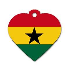 Flag of Ghana Dog Tag Heart (One Side)