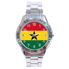 Flag of Ghana Stainless Steel Analogue Watch