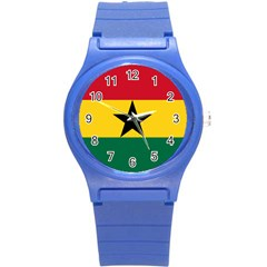 Flag of Ghana Round Plastic Sport Watch (S)
