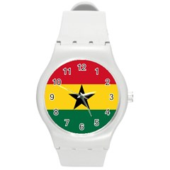 Flag of Ghana Round Plastic Sport Watch (M)