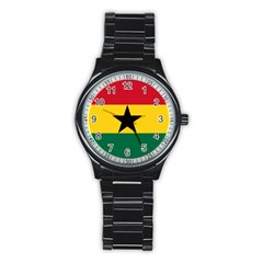 Flag of Ghana Stainless Steel Round Watch
