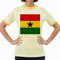 Flag of Ghana Women s Fitted Ringer T-Shirts