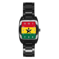 Flag of Ghana Stainless Steel Barrel Watch