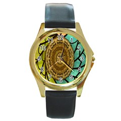 Kaleidoscope Dream Illusion Round Gold Metal Watch