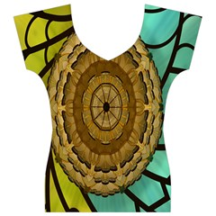 Kaleidoscope Dream Illusion Women s V-Neck Cap Sleeve Top