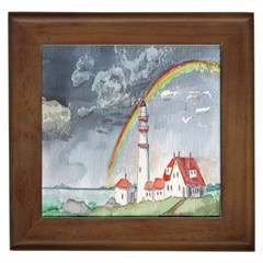 Watercolour Lighthouse Rainbow Framed Tiles