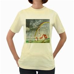 Watercolour Lighthouse Rainbow Women s Yellow T Shirt