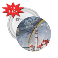 Watercolour Lighthouse Rainbow 2 25  Buttons (10 Pack)
