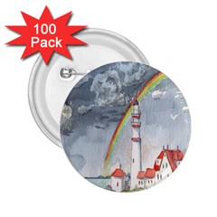 Watercolour Lighthouse Rainbow 2 25  Buttons (100 Pack)